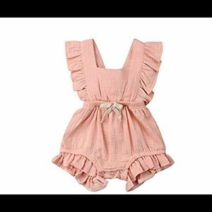 100% cotton baby kids romper outfit peach gauze